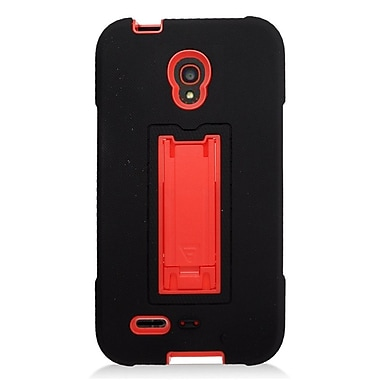 Insten Symbiosis Silicone Hybrid Rubber Hard Case For Alcatel One Touch Conquest - Black/Red