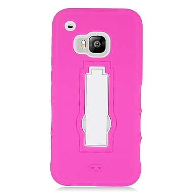Insten Symbiosis Skin Hybrid Rubber Hard Case w/stand For HTC One M9 - Hot Pink/White