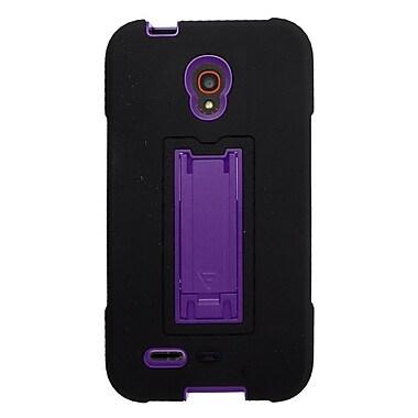 Insten Symbiosis Skin Hybrid Rubber Hard Case For Alcatel One Touch Conquest - Black/Purple