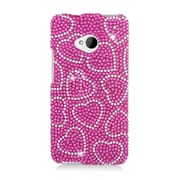 Insten Hearts Hard Diamante Cover Case For HTC One M7 - Hot Pink