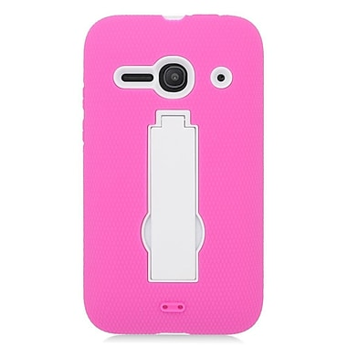 Insten Symbiosis Skin Dual Layer Rubber Hard Case For Alcatel One Touch Evolve 2 - Pink/White