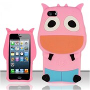 Insten Hot Pink 3D Cow Design Silicone Soft Skin Case Cover For Apple iPhone SE 5