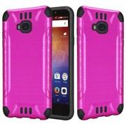 Insten Slim Armor Brushed Metal Design Hybrid Hard PC/TPU Dual Layer Case For Huawei Ascend XT - Hot Pink/Black