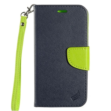 Insten Flip Leather Fabric Case Lanyard w/stand/card holder For LG K10 K420N - Dark Blue/Green
