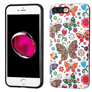 Insten Butterfly Wonderland Hard Dual Layer TPU Case For Apple iPhone 7 Plus - Purple/White