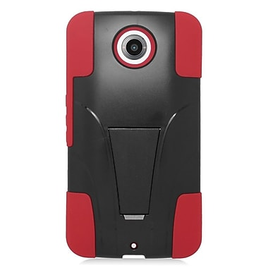 Insten Hard Dual Layer Plastic Silicone Case with stand For Motorola Google Nexus 6 - Red