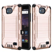 Insten Slim Armor Brushed Metal Design Hybrid Hard PC/TPU Dual Layer Case For ZTE Tempo - Gold/Black