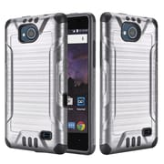 Insten Slim Armor Brushed Metal Design Hybrid Hard PC/TPU Dual Layer Case For ZTE Tempo - Grey/Black