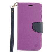 Insten Book-Style Leather Fabric Case Lanyard w/stand/card slot For LG K10 K420N - Purple/Dark blue