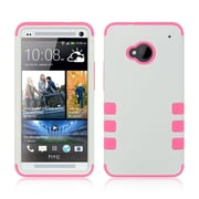 Insten Hybrid Hard PC/Silicone Dual Layer Case Skin For HTC One M7 - White/Pink