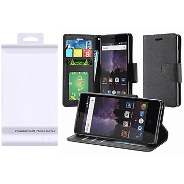 Insten Book-Style Leather Fabric Cover Case w/stand/card slot/Photo Display For ZTE Tempo - Black