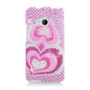 Insten Hearts Hard Bling Cover Case For HTC One M7 - Hot Pink