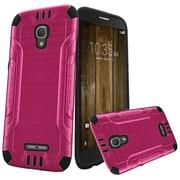 Insten Slim Armor Brushed Metal Design Hybrid Hard PC/TPU Case For Alcatel One Touch Fierce 4 / Pop 4 - Hot Pink/Black