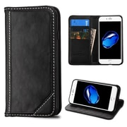 Insten Book-Style Leather Fabric Case w/stand/card holder For Apple iPhone 7 - Black