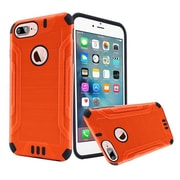 Insten Hard Dual Layer Rubber Coated Silicone Cover Case with Screen Protector For Apple iPhone 7 Plus - Orange/Black