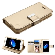 Insten Folio Leather Fabric Case w/stand/card holder/Photo Display For Apple iPhone 7 - Gold