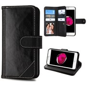 Insten Genuine leather Fabric Case w/stand/card slot/Photo Display For Apple iPhone 7 Plus - Black