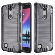 Insten Slim Armor Brushed Metal Design Hybrid Hard PC/TPU Dual Layer Case For LG K20 Plus / K20 V / V5 - Grey/Black