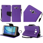 Insten Flip Leather Fabric Case Lanyard w/stand For Samsung Galaxy On5 - Purple/Black