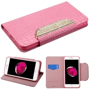 Insten Book-Style Leather Crocodile Skin Cover Case w/stand/card holder/Diamond For Apple iPhone 7 Plus - Pink