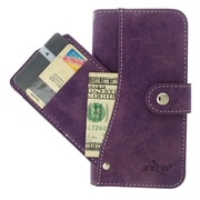 Insten Folio Leather Furry Cover Case Pocket wallet w/stand/card slot For Apple iPhone 6 - Purple