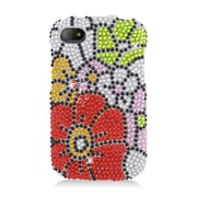 Insten Flowers Hard Rhinestone Case For BlackBerry Q10 - Red/Green