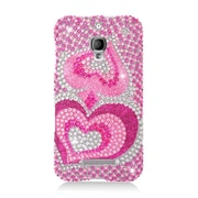 Insten Hearts Hard Diamante Cover Case For Alcatel One Touch Fierce - Hot Pink