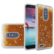 Insten Liquid Quicksand Glitter Fused Flexible Hybrid Hard Cover Case For ZTE Carry / Zmax Pro - Gold