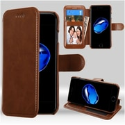 Insten Folio Leather Fabric Case w/stand/card slot/Photo Display For Apple iPhone 7/ 8, Brown