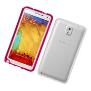Insten Rubber Bumper Case For Samsung Galaxy Note 3 - Hot Pink/White