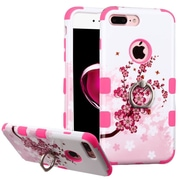 Insten Spring Flowers Hard Dual Layer Rubberized Silicone Case w/Ring stand For Apple iPhone 7 Plus - Pink/White