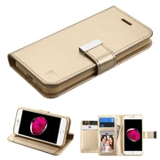 Insten Folio Leather Fabric Case w/stand/card slot/Photo Display For Apple iPhone 7 Plus - Gold