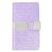 Insten Flip Wallet Leather Rhinestone Case with Card slot For LG Escape 2 - Purple/Silver
