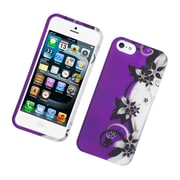 Insten Vine Flower Hard Rubberized Case For Apple iPhone 5S 5 - Purple/Silver