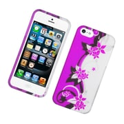 Insten Vine Flower Hard Rubber Coated Case for iPhone 5S 5 - Hot Pink/Silver