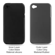 Insten Hard Hybrid Silicone Cover Case For Apple iPhone 4 - Dark Gray/Black