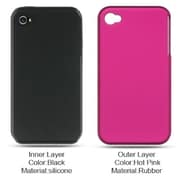 Insten Hard Dual Layer Silicone Case For Apple iPhone 4 - Hot Pink/Black