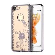 Insten Rosie garden Rubber Cover Case w/Diamond For Apple iPhone 7 - Gray/Clear