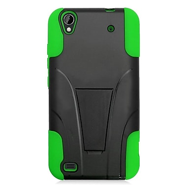 Insten Hard Hybrid Plastic Silicone Case w/stand For ZTE Quartz - Black/Green