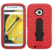 Insten Symbiosis Silicone Hybrid Rubber Hard Case with Stand/Diamond For Motorola Moto E (2nd Gen 2015) - Red/Black