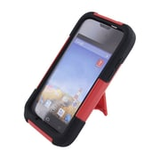 Insten Hard Dual Layer Plastic Silicone Case with stand for Huawei Prism II U8686 - Red/Black
