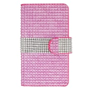 Insten Leather Wallet Rhinestone Case with Card slot For Samsung Galaxy S7 - Hot Pink/Silver