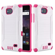 Insten Slim Armor Brushed Metal Design Hybrid Hard PC/TPU Dual Layer Case For ZTE Tempo - White/Hot Pink