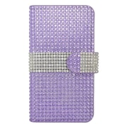 Insten Leather Wallet Diamante Cover Case with Card slot For Samsung Galaxy S7 - Purple/Silver