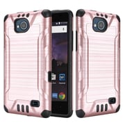 Insten Slim Armor Brushed Metal Design Hybrid Hard PC/TPU Dual Layer Case For ZTE Tempo - Rose Gold/Black