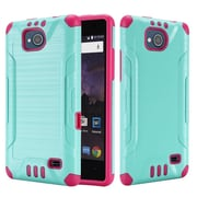 Insten Slim Armor Brushed Metal Design Hybrid Hard PC/TPU Dual Layer Case For ZTE Tempo - Teal/Hot Pink