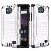 Insten Slim Armor Brushed Metal Design Hybrid Hard PC/TPU Dual Layer Case For ZTE Tempo - Silver/Black