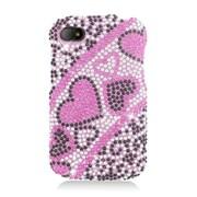 Insten Hearts Hard Diamond Cover Case For BlackBerry Q10 - Hot Pink