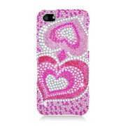 Insten Hearts Hard Rhinestone Case For Apple iPhone 5/5S - Hot Pink