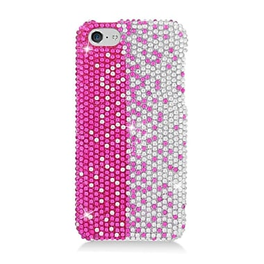 Insten Hard Diamond Cover Case For Apple iPhone 5C - Hot Pink/Silver